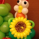 Balloon Chicken and Sunflower Sculpture