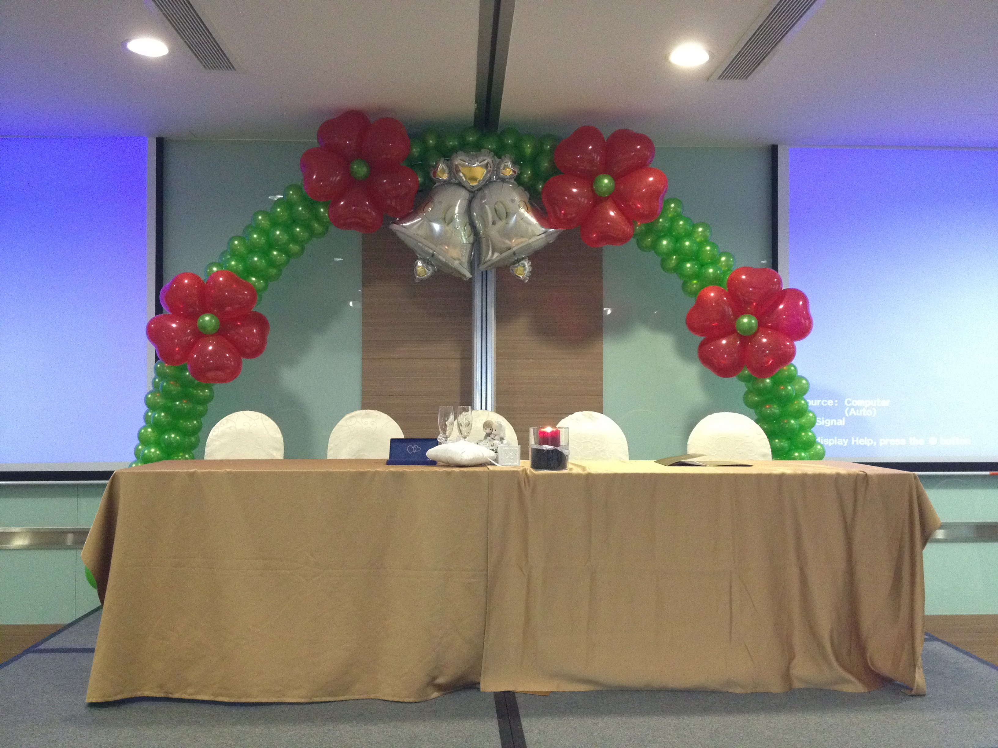 Balloon flower and bell arch that balloons for Balloon arch decoration