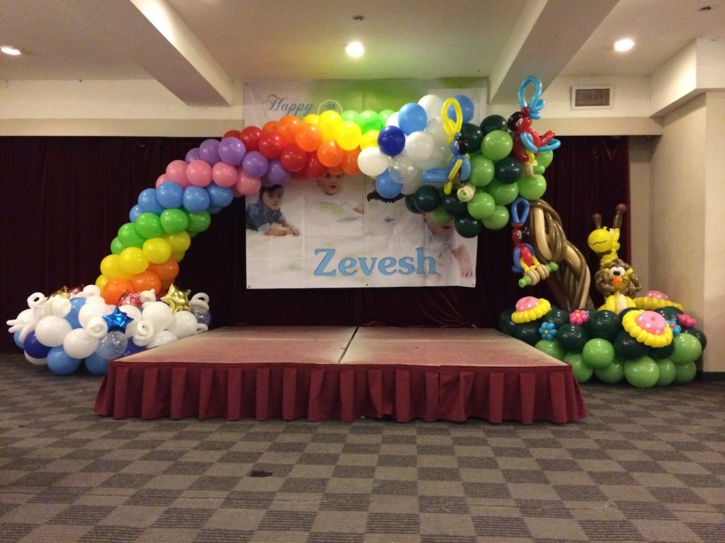 Birthday party balloon arches image inspiration of cake for Balloon decoration for birthday at home