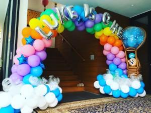 Rainbow balloon arch hotair balloon