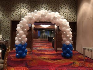 White Spiral Balloon Arch