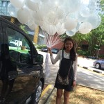 White and clear helium balloons