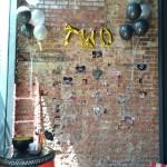 helium balloons on wall