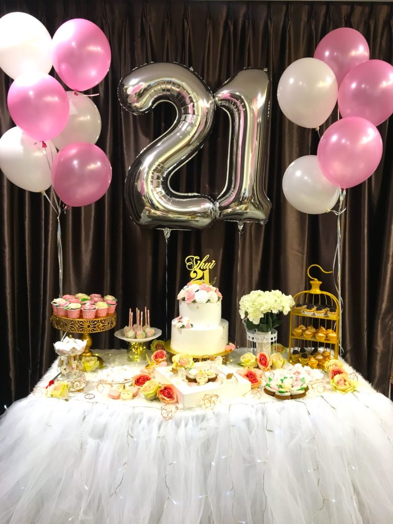 Table decorations for 21st birthday party image for Balloon decoration images party