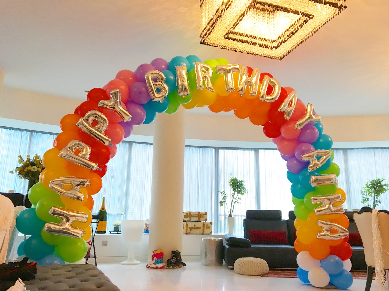 Classic rainbow balloon arch that balloons for How to make balloon arch at home