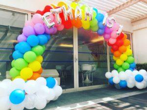 Rainbow Balloon Arch for Birthday Party