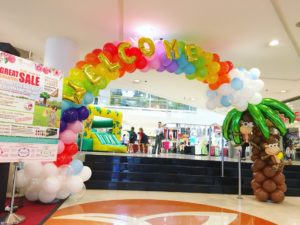 Rainbow Balloon Arch with Coconut Tree