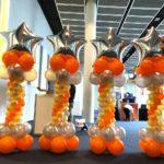 Silver and Orange Balloon Star Columns