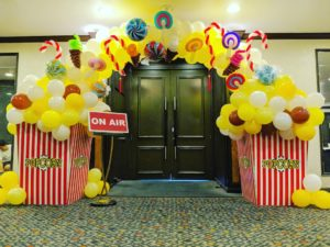 Candies and Popcorn Balloon Arch