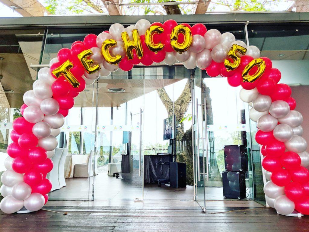 Foil Balloon Letters on Balloon Arch