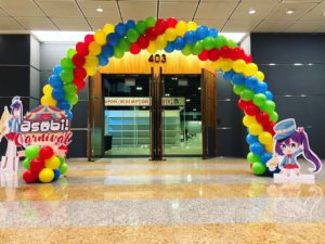 Rainbow Spiral Balloon Arch