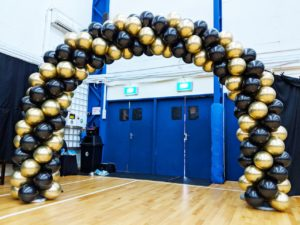 Black and Gold Chrome Balloon Arch