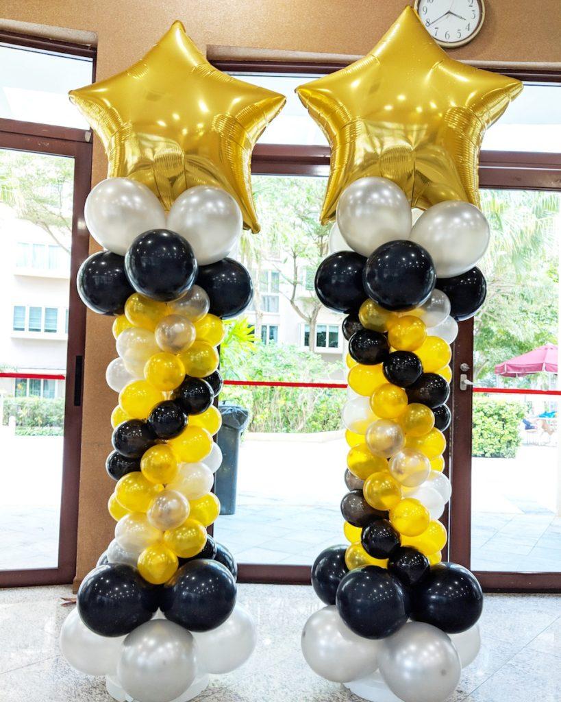Gold Star Balloon Columns Decorations