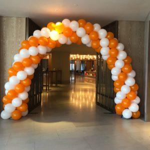 Orange and White Balloon Arch