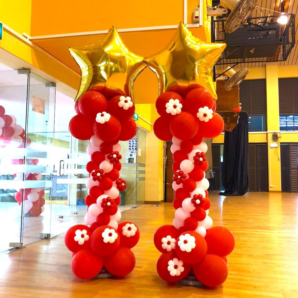 Red and White Balloon Columns