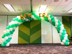 White and Green Balloon Arch