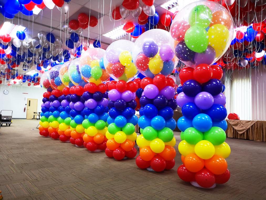 Rainbow Balloon Columns Pillars