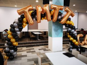 Classic Black Gold and Silver Balloon Arch