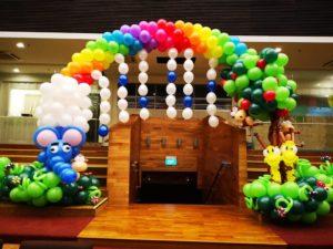 Large Rainbow and Animal Balloon Arch