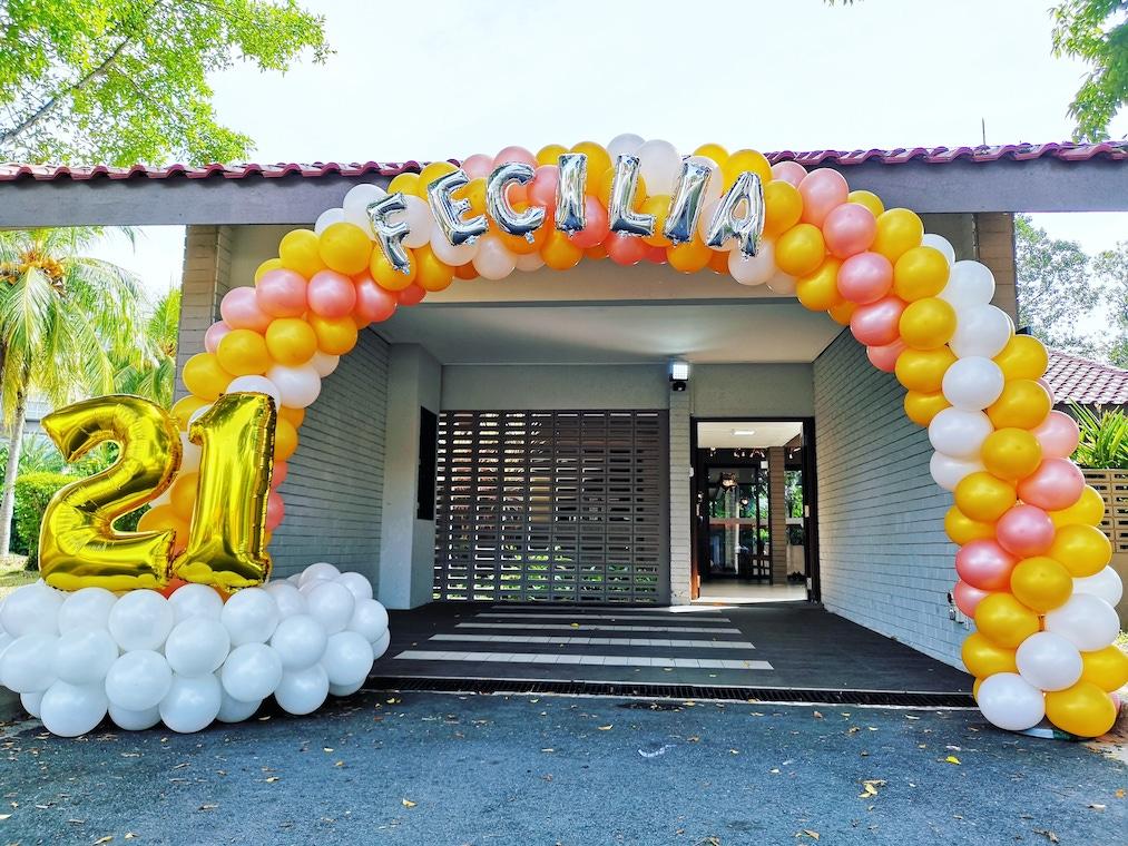 21st Birthday Party Balloon Arch Singapore