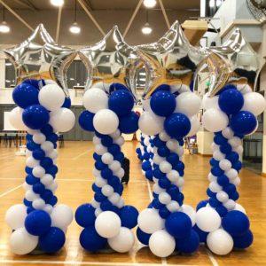 Silver Star Balloon Columns