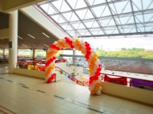 Red White and Gold Balloon Arch Singapore