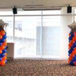 Blue and Orange Balloon Pillars