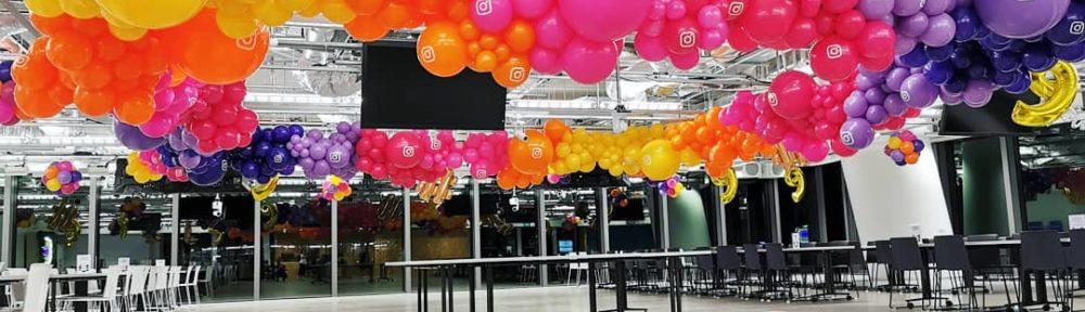 Organic Balloon Garland Decorations on Ceiling