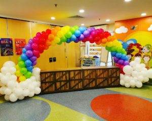 Rainbow and Clouds Balloon Arch