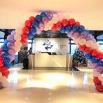 Red Blue Purple White Balloon Arch