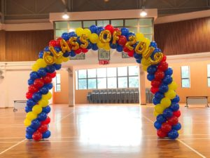 Blue yellow and Red Balloon Arch