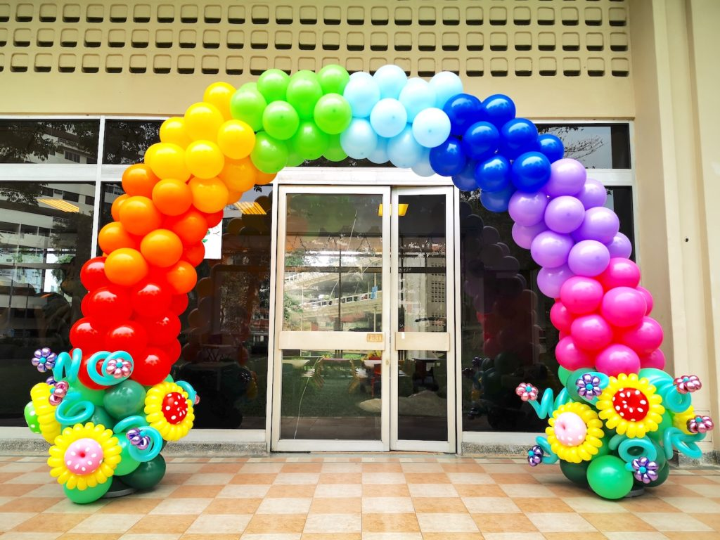 Rainbow Balloon Arch with Sunflower