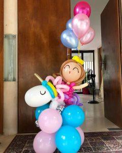 Balloon Girl and Unicorn Sculpture Display