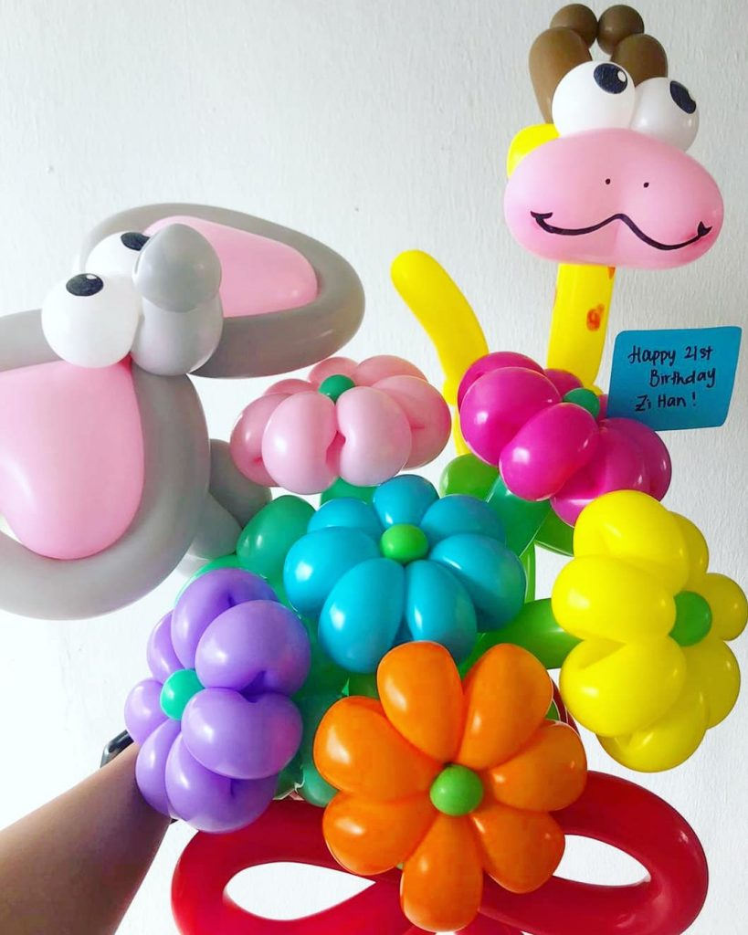 Colourful Balloon Flowers and Animal Sculptures