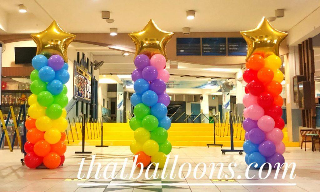 Gold Star on Rainbow Pillars Balloon Decorations