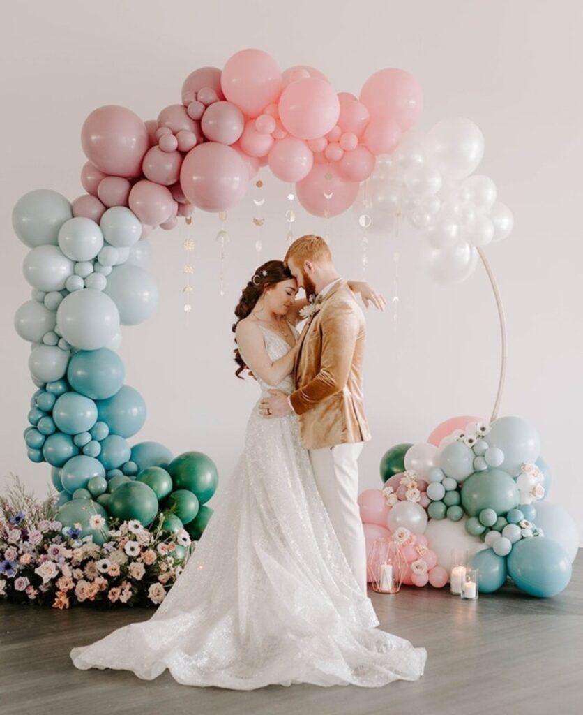 pastel coloured organic balloon garlands