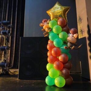 Balloon Columns with Balloon Monkey Sculpture
