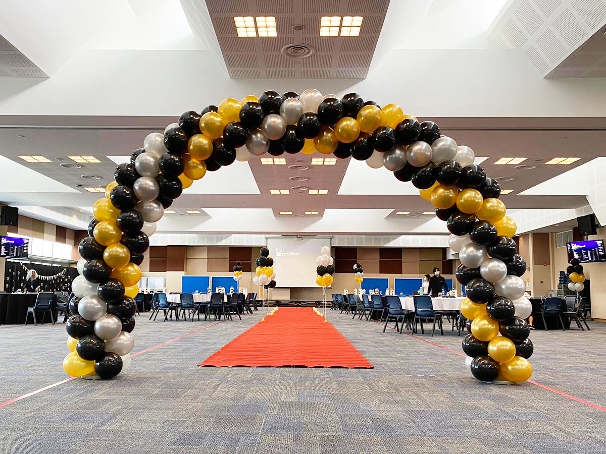 Gold Silver and Black Balloon Arch Decoration