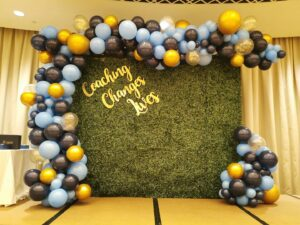 Green wall backdrops with organic balloon for events