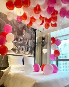 Hotel Room Styling with balloon decoration