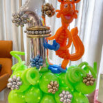 Number Balloon Decoration Display with Fox Sculpture