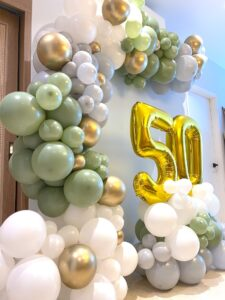 Olive Green White and Gold Balloon Decorations