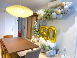 Organic Balloon Oilve Green white grey and gold decorations