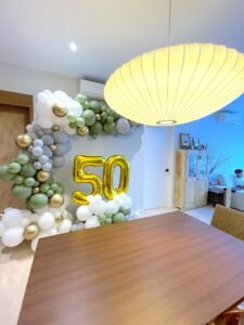 Organic Olive Green and White Balloon Decorations