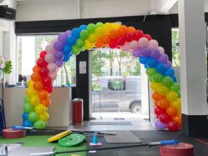 Sprial Rainbow Balloon Arch Decoration Singapore