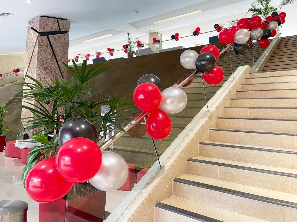 Balloon Clusters on Railing Decorations