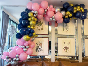 Pink and Midnight Blue Balloon Decoration